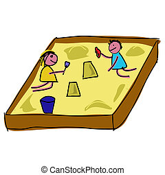Childs playing in a sandpit - Vector illustration : Childs...