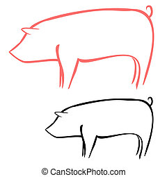 Pig - Vector illustration : Pig sketch on a white...