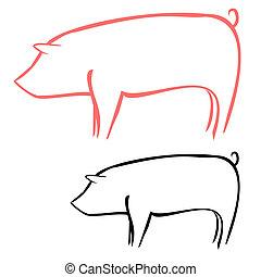 Pig - Vector illustration : Pig sketch on a white...