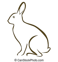 Rabbit - Vector illustration : Rabbit sketch on a white...