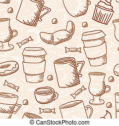 Vector seamless sketchy doodle style coffee cups and mugs background