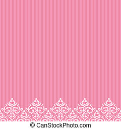 Vector pink frame/border in damask baroque style