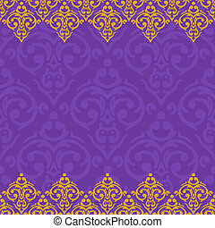 Vector seamless purple and gold frame/border in damask...