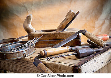 Old Tools - still life with nails rasp and old tools