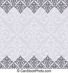 Vector seamless purple and white frame/border in damask baroque style