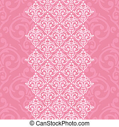 Vector seamless pink frame/border in damask baroque style
