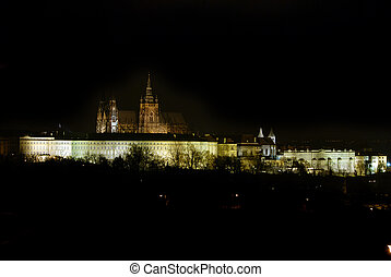 Prague castle in the night - residence of czech president