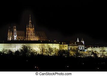 Prague castle in the night - residence of czech president