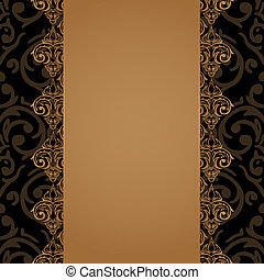 Vector seamless baroque damask luxury border - Vector...