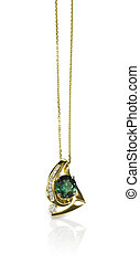 Green Emerald and Diamond Pendant Necklace isolated on white...