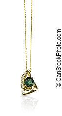 verde, esmeralda, diamante, colgante, collar