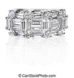 hermoso, diamante, boda, aniversario, banda, anillo
