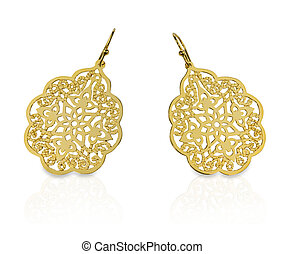 Gold Filigree Earrings - Elaborate yellow gold filigree...