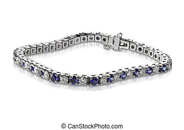 Diamond and Sapphire Tennis Bracelet isolated on white