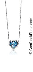 Blue Gemstone and Diamond Pendant Necklace isolated on a...