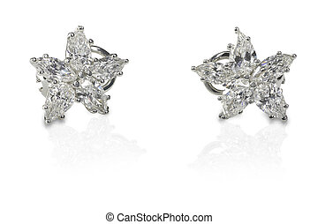 Multi Marquise Diamond stud earrings isolated on a white...