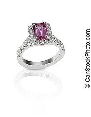 diamante, Encrusted, Engagment, boda, aniversario, anillo