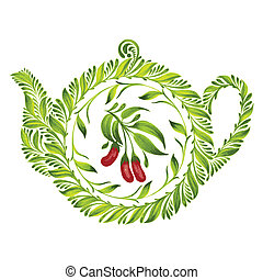 decorative ornament teapot - hand drawn illustration in...