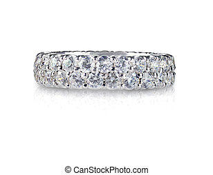 hermoso, diamante, aniversario, banda, boda, anillo