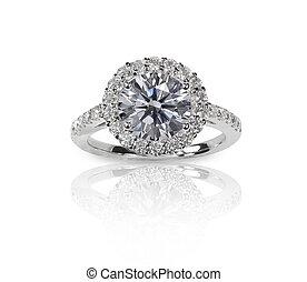 hermoso, diamante, boda, Engagment, banda, anillo,...