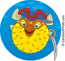 Puffer fish pirate - Puffer wearing a pirate hat and holding...