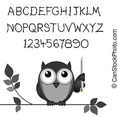 Alphabet - Hand written alphabet and numbers isolated on...