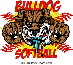 bulldog softball with bulldog mascot and red stitches