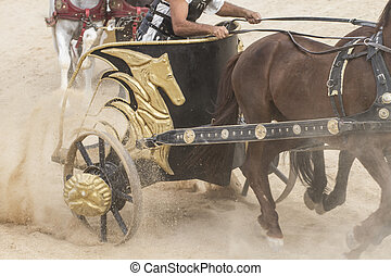 War, Roman chariot in a fight of gladiators, bloody circus