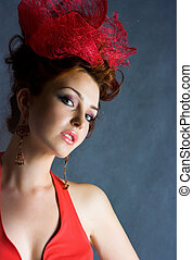 Old fashion style - Beautiful red-haired girl in old fashion...
