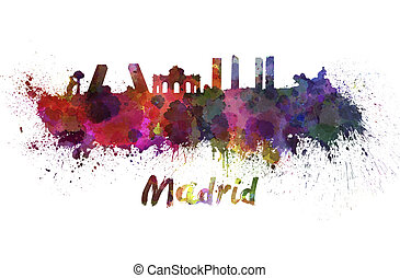 Madrid skyline in watercolor splatters with clipping path