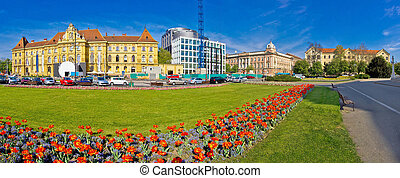 Zagreb Marshal Tito square panorama, flowera and...