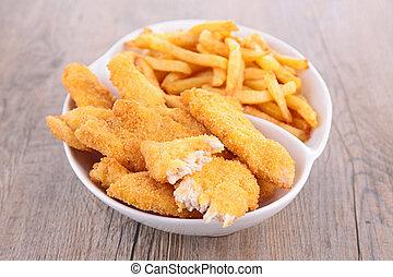 francés, fríe, frito, pollo, Pepitas