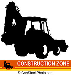 Backhoe Loader Construction Vehicle - An image of a backhoe...