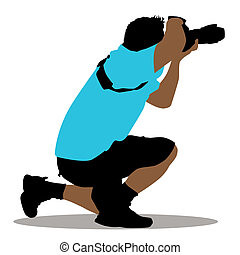 Kneeling Photographer - An image of a kneeling photographer
