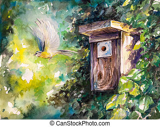 Birdhouse - Blue tit flying out of birdhouse.Picture created...