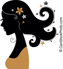 Retro woman silhouette with flowers in hair - Vintage woman...