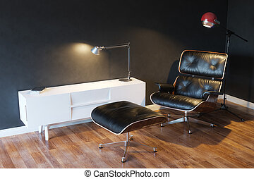 Black Cozy Leather Armchair In Modern Interior 3d Version