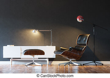 Black Cozy Leather Armchair In Modern Interior 1st Version
