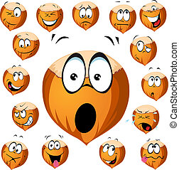 hazelnut cartoon with many expressions