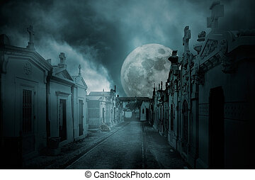 Full moon cemetery - Street of an old european cemetery in a...