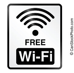 Free WiFi Information Sign - Monochrome free WiFi public...