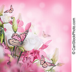 Bouquet of white and pink roses, butterfly. Floral...