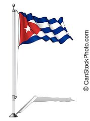 Flag Pole Cuba - Vector Illustration of a waving Cuban flag...