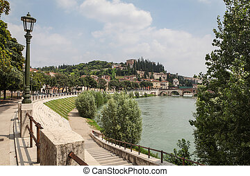 Verona, Italy - City of Verona in Italy with Castel San...