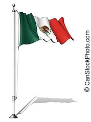 Flag Pole Mexico - Vector Illustration of a waving Mexican...