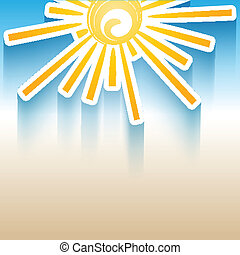 Summer background with a sun symbol