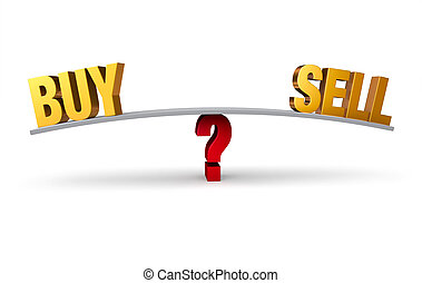"""Deciding Whether To Buy Or Sell - A bright, gold """"BUY"""" and..."""