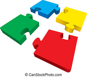 Four puzzles - Vector illustration of puzzle pieces
