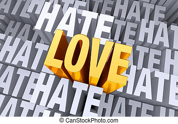"Love Rises Above Hate - A bright, gold ""LOVE"" shines and..."