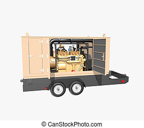 Trailer generator isolated on white background
